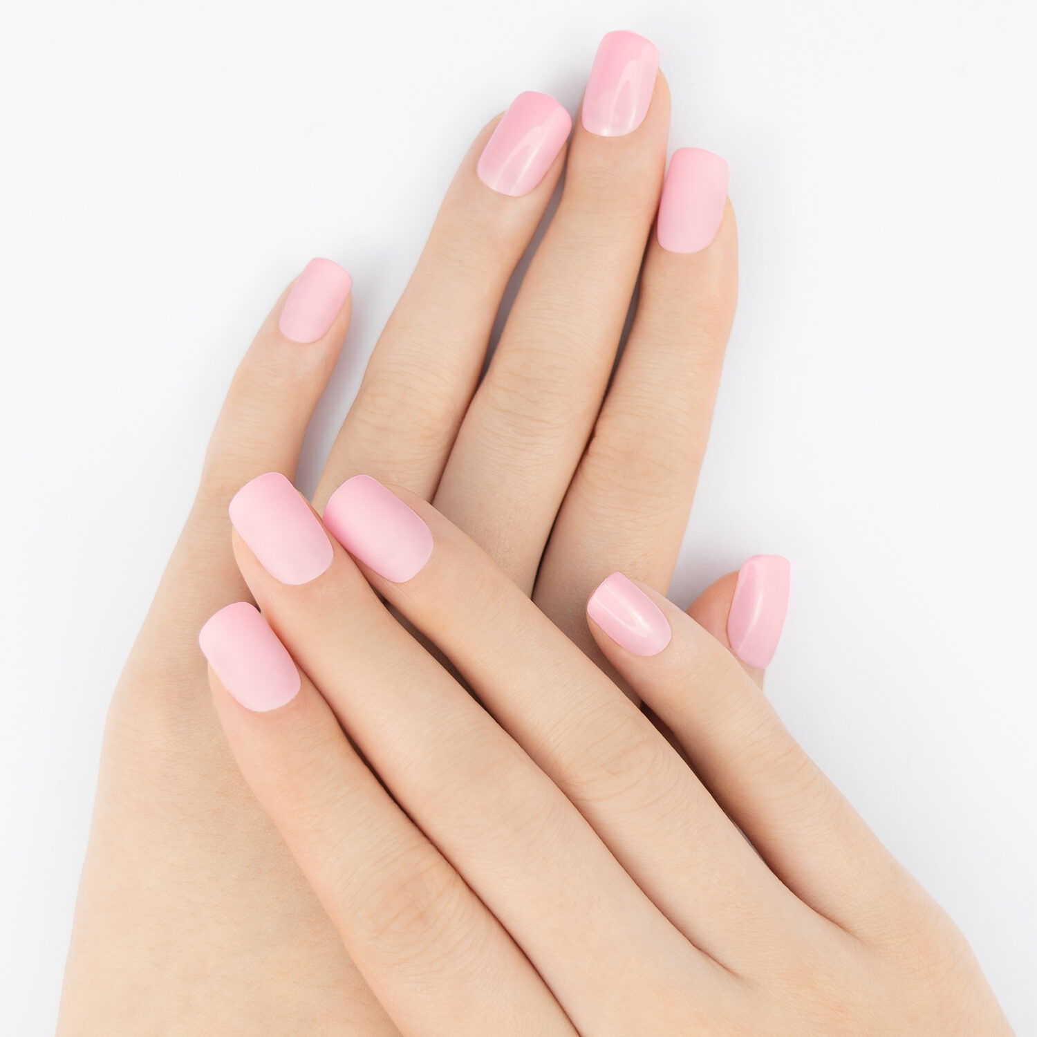 Blush Pink Stick On Nails on hand. Fake Nails, Press On Nails, Artificial Nails, Nail Tips, DIY Manicure, MUSE & Co.